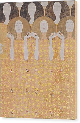 Chor Der Paradiesengel Wood Print by Gustav Klimt