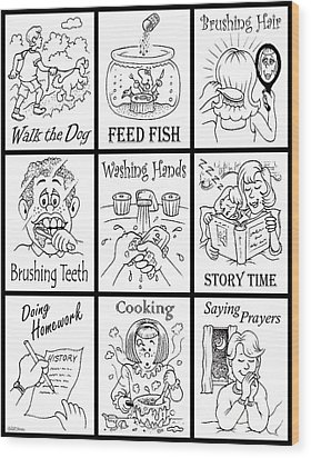 Wood Print featuring the drawing Chore Chart 1 by Cristophers Dream Artistry
