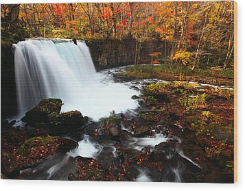 Choushi - Ootaki Waterfall In Autumn Wood Print
