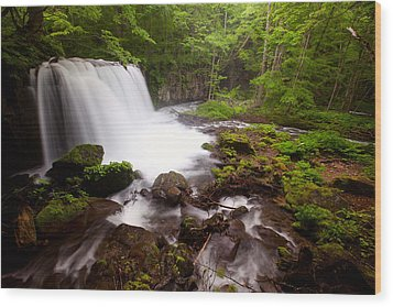 Choushi - Ootaki Waterfall In Summer Wood Print