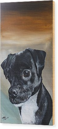 Chowder The Pug Rat Terrier Mix Wood Print by Michelle Iglesias