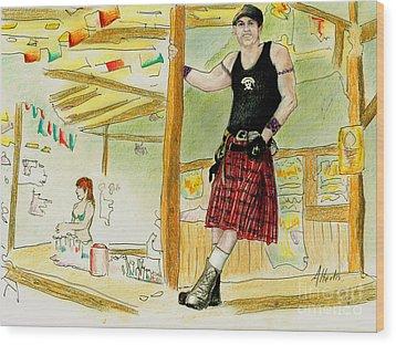Wood Print featuring the painting Chris At The Broken Spoke Saloon by Albert Puskaric