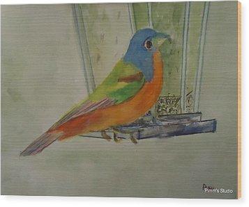 Chris' Birdfeeder Wood Print by Betty Pimm