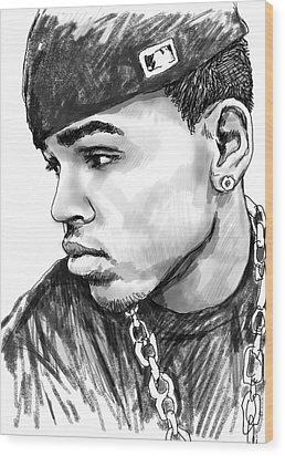 Chris Brown Art Drawing Sketch Portrait Wood Print by Kim Wang