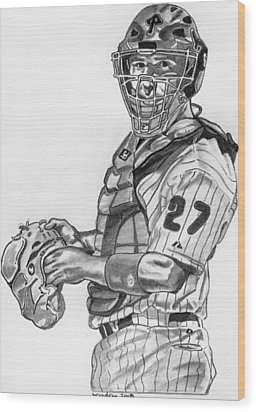 Chris Coste Wood Print by Brian Condron