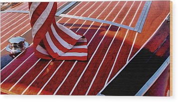 Chris Craft With American Flag Wood Print by Michelle Calkins