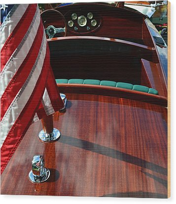 Chris Craft With Flag And Steering Wheel Wood Print by Michelle Calkins