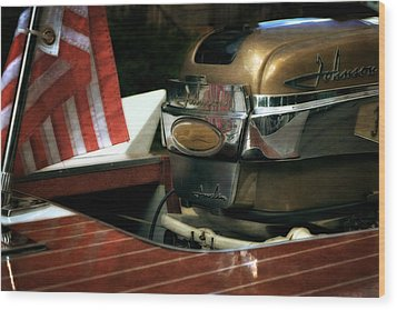 Chris Craft With Johnson Motor Wood Print by Michelle Calkins