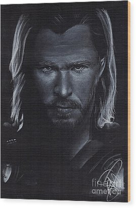 Chris Hemsworth Wood Print by Rosalinda Markle