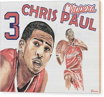 Chris Paul Wood Print by Israel Torres