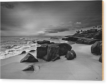 Chris's Rock 2013 Black And White Wood Print by Peter Tellone