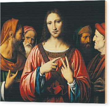 Christ Among The Doctors Wood Print by Bernardino Luini