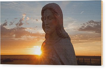 Christ And Sun Wood Print by Shirley Heier