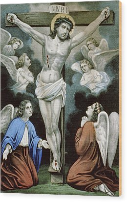Christ And The Angels Circa 1856 Wood Print by Aged Pixel