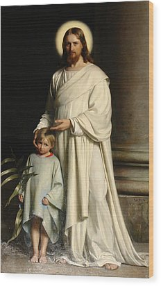 Christ And The Child Wood Print by Carl Bloch
