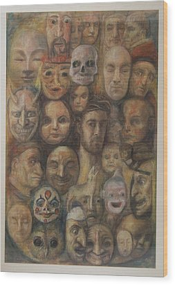 Christ And The Masks Wood Print by Paez  Antonio