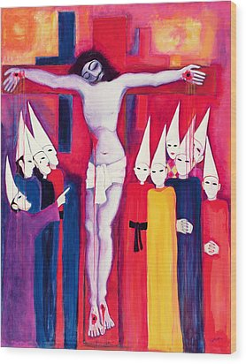 Christ And The Politicians Wood Print by Laila Shawa