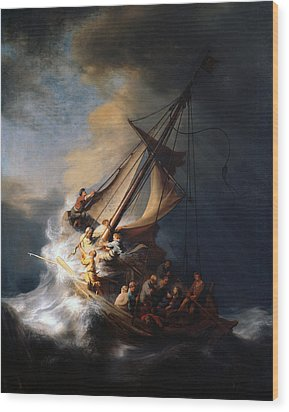 Christ And The Storm Wood Print