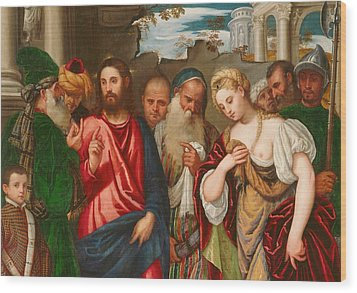 Christ And The Woman Taken In Adultery Wood Print by Veronese