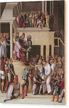Christ Before Pilate, C.1530 Wood Print by Lodovico Mazzolino