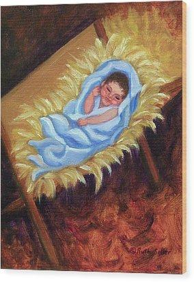 Christ Child In Manger Wood Print