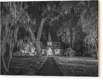 Christ Church Bw Wood Print by Debra and Dave Vanderlaan