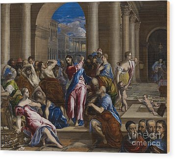 Christ Driving The Money Changers From The Temple Wood Print by El Greco