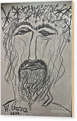 Christ In Distress. Pensive Christ. Chrystus Frasobliwy. By Andrzej Goszcz. Wood Print by  Andrzej Goszcz