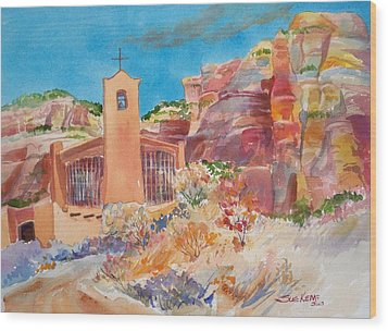 Christ In The Desert Monastery Wood Print by Sue Kemp