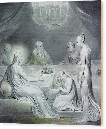 Christ In The House Of Martha And Mary Or The Penitent Magdalene Wood Print by William Blake
