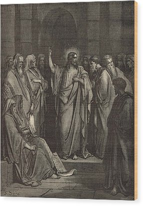 Christ In The Synagogue Wood Print by Antique Engravings