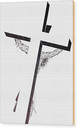 Wood Print featuring the drawing Christ On Cross by Justin Moore