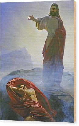 Christ Rebuking Satan Wood Print