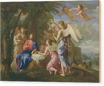 Wood Print featuring the painting Christ Served By The Angels - Jacques Stella - 1656 by Jacques Stella