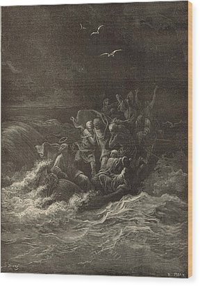 Christ Stilling The Tempest Wood Print by Antique Engravings