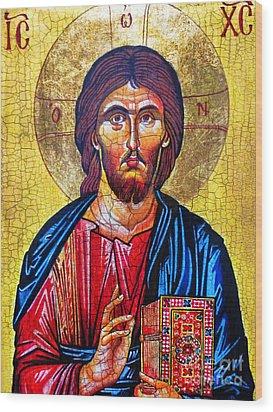 Christ The Pantocrator Icon Wood Print by Ryszard Sleczka
