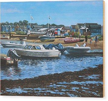 Christchurch Hengistbury Head Beach With Boats Wood Print by Martin Davey