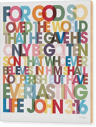Christian Art- John 3 16 Versevisions Poster Wood Print by Mark Lawrence