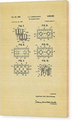 Christiansen Lego Toy Building Block Patent Art 2 1961 Wood Print by Ian Monk