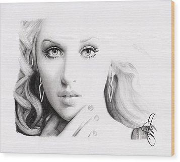 Christina Aguilera 2 Wood Print by Rosalinda Markle