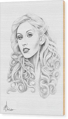 Christina Aguilera Wood Print by Murphy Elliott
