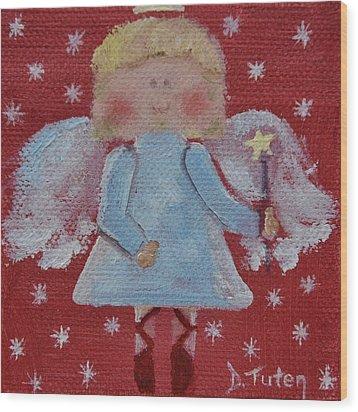 Christmas Angel Wood Print by Donna Tuten