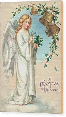 Christmas Angel Wood Print by English School