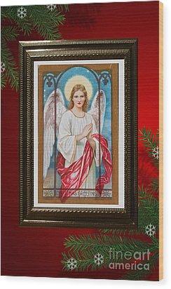 Christmas Angel Art Prints Or Cards Wood Print by Valerie Garner