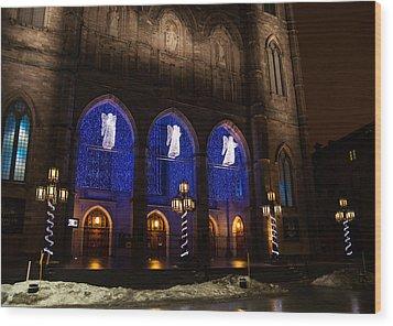 Christmas Angels - Notre-dame De Montreal Basilica Wood Print by Georgia Mizuleva