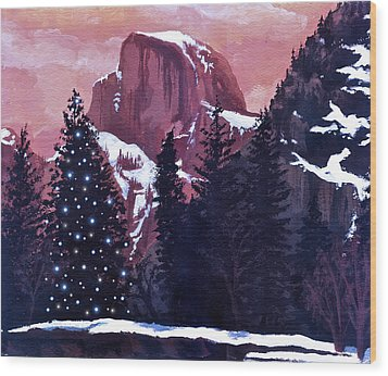 Christmas At Half Dome Wood Print by Sara Coolidge