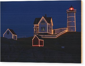 Christmas At Nubble Wood Print by Andrea Galiffi