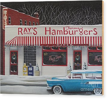 Christmas At Ray's Diner Wood Print by Catherine Holman