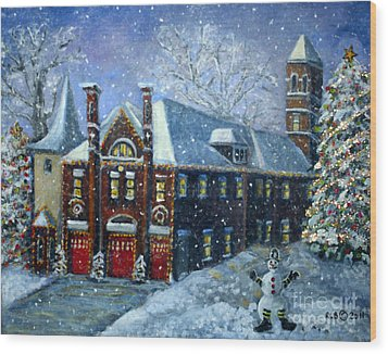 Wood Print featuring the painting Christmas At The Fire House by Rita Brown