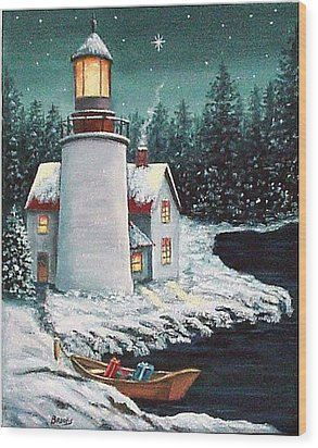 Wood Print featuring the painting Christmas At The Light by Fran Brooks